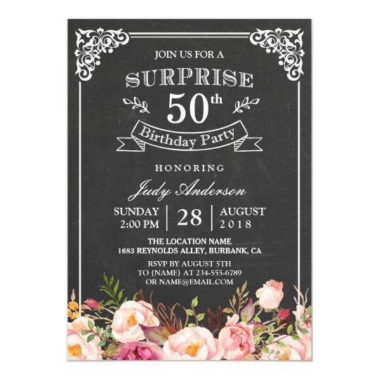 vintage chalkboard floral surprise birthday party card. Black Bedroom Furniture Sets. Home Design Ideas