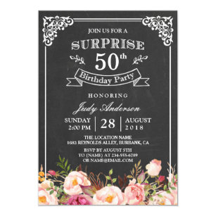 Vintage Chalkboard Floral Surprise Birthday Party Invitation