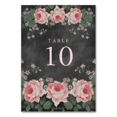 Vintage Chalkboard Floral Table Number Cards Table Card