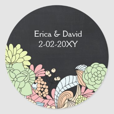 Vintage Chalkboard floral wedding favor stickers