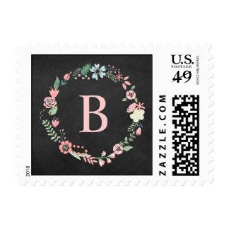Vintage Chalkboard Floral Wreath Monogrammed Stamp