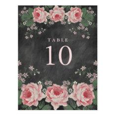 VINTAGE CHALKBOARD FLOWER TABLE NUMBER POST CARDS
