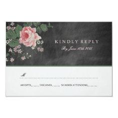 VINTAGE CHALKBOARD FLOWER WEDDING RSVP INVIATIONS 3.5X5 PAPER INVITATION CARD
