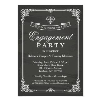 Vintage Chalkboard Frame Diamond Engagement Party Card