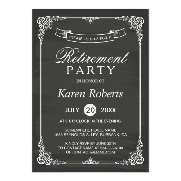 Vintage Chalkboard Frame Elegant Retirement Party Card