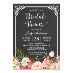 Vintage Chalkboard Frame Floral Bridal Shower Card at Zazzle