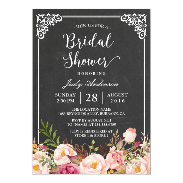 Vintage Chalkboard Frame Floral Bridal Shower Card (front side)
