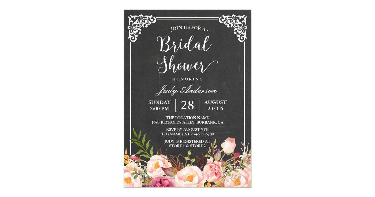 Chalkboard Bridal Shower Invitations & Announcements | Zazzle