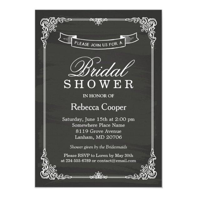 Vintage Chalkboard Frame Wedding Bridal Shower Card