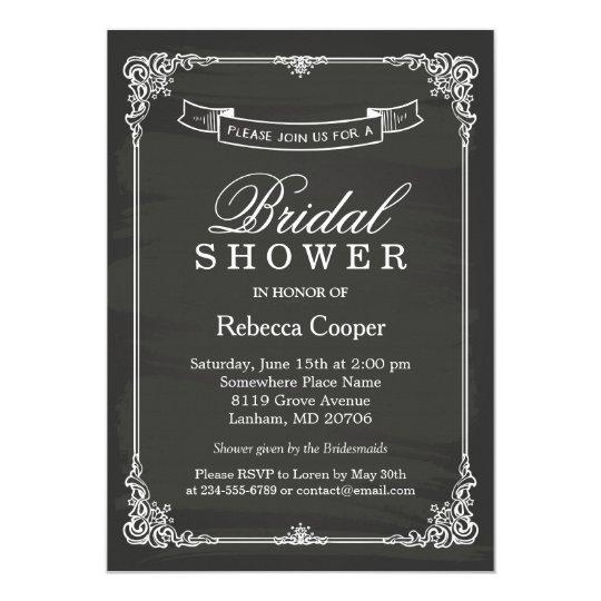 Vintage Chalkboard Frame Wedding Bridal Shower Invitation