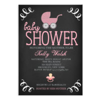Vintage Chalkboard Girl Baby Shower Invitation Announcement
