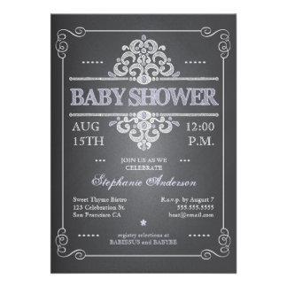 Vintage Chalkboard Girl Baby Shower Invitation