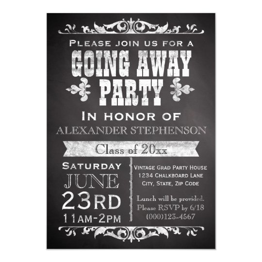 vintage chalkboard going away graduation party invitation zazzle com