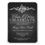 Vintage Chalkboard Graduation Party Black Invitations