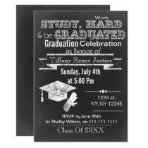 Vintage Chalkboard Graduation party Invitation