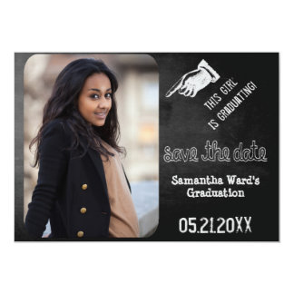 Vintage Chalkboard Graduation Photo Save The Date Card