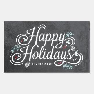 Vintage Chalkboard Happy Holidays Stickers