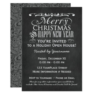 Vintage Chalkboard Holiday Open House Card
