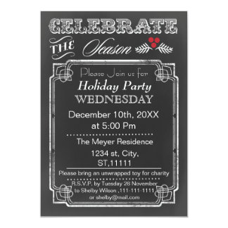 Vintage Chalkboard Holiday party Invitation