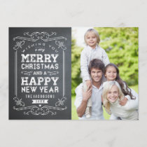 Vintage Chalkboard Holiday Photo Card