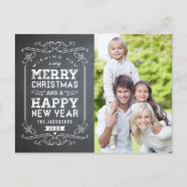 Vintage Chalkboard Holiday Photo Card Postcard