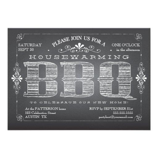 Vintage Chalkboard Housewarming BBQ Invitation