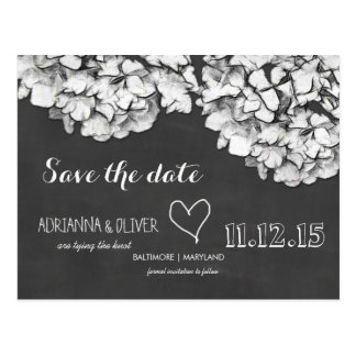 Vintage Chalkboard Hydrangea Flowers Save The Date Post Cards