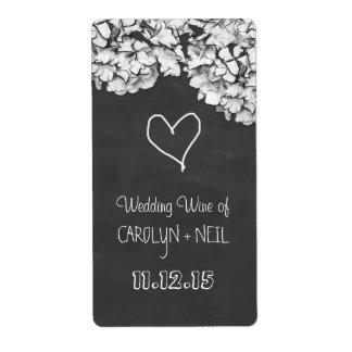 Vintage Chalkboard Hydrangea Flowers Wedding Wine Label