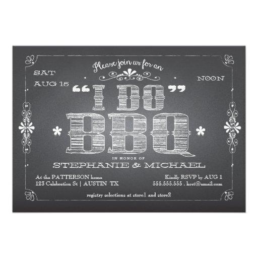 Vintage Chalkboard I Do BBQ Shower Invitation