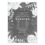 Vintage Chalkboard Inspired Garden Wedding 5x7 Paper Invitation Card