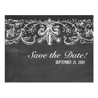 Vintage Chalkboard Lace save the date Post Card