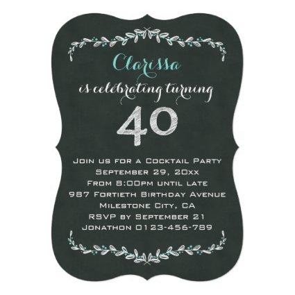 Vintage Chalkboard Laurel 40th Birthday Party
