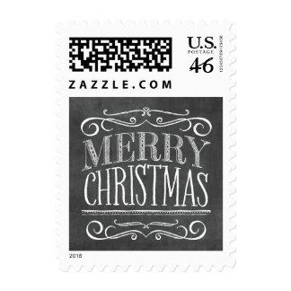 Vintage Chalkboard Lettering Merry Christmas Stamp