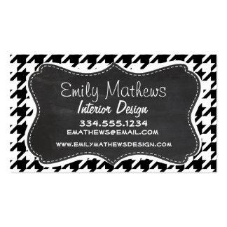 Vintage Chalkboard look; Black & White Houndstooth Business Cards