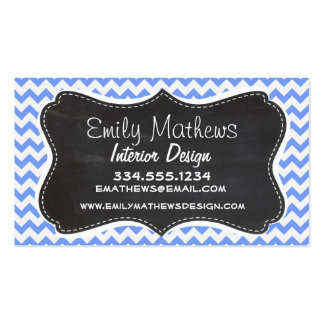 Vintage Chalkboard look, Blue Chevron Pattern Business Card