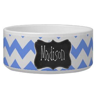 Vintage Chalkboard look, Blue Chevron Pattern Pet Bowls