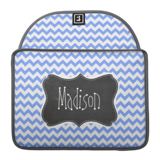 Vintage Chalkboard look, Blue Chevron Pattern Sleeve For MacBook Pro