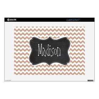 "Vintage Chalkboard look; Brown Chevron Pattern 15"" Laptop Decal"