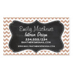 Vintage Chalkboard look; Brown Chevron Pattern Business Cards