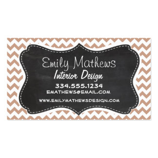 Vintage Chalkboard look; Brown Chevron Pattern Double-Sided Standard Business Cards (Pack Of 100)