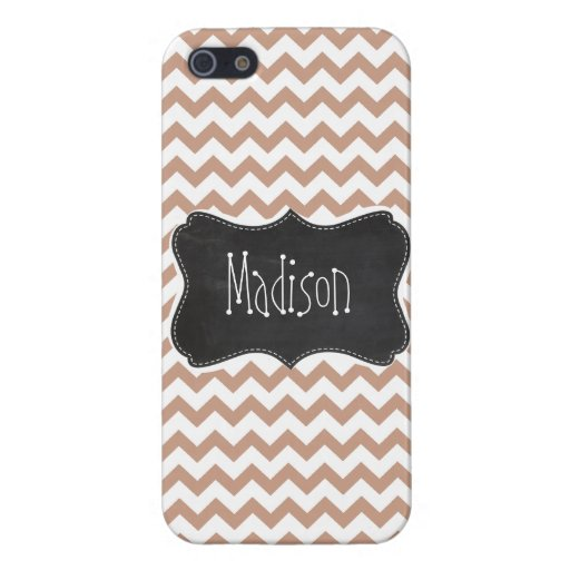 Vintage Chalkboard look; Brown Chevron Pattern Cover For iPhone 5