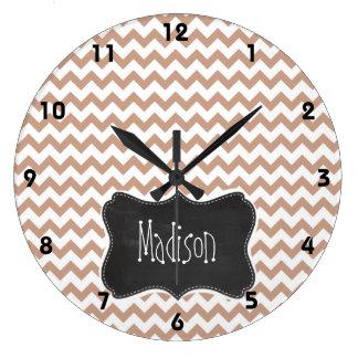 Vintage Chalkboard look; Brown Chevron Pattern Large Clock
