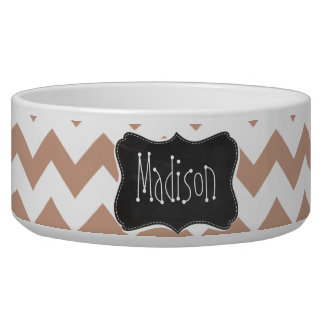 Vintage Chalkboard look; Brown Chevron Pattern Dog Bowl