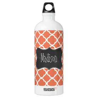 Vintage Chalkboard look; Burnt Sienna Quatrefoil Water Bottle