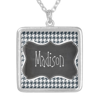 Vintage Chalkboard look Charcoal Color Houndstooth Silver Plated Necklace