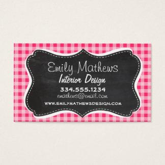 Vintage Chalkboard look; Hot Pink Gingham Business Card