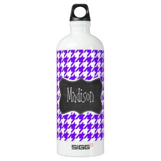 Vintage Chalkboard look; Indigo Houndstooth Water Bottle