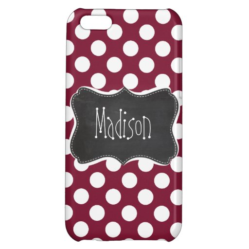 Vintage Chalkboard look on Claret Polka Dots iPhone 5C Covers