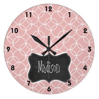 Vintage Chalkboard look on Mauve Circles Large Clock
