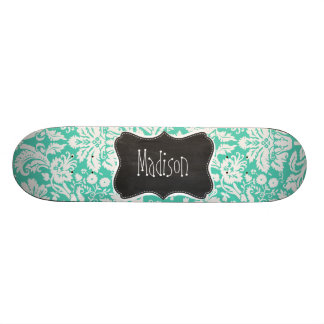 Vintage Chalkboard look; Seafoam Green Damask Skate Decks